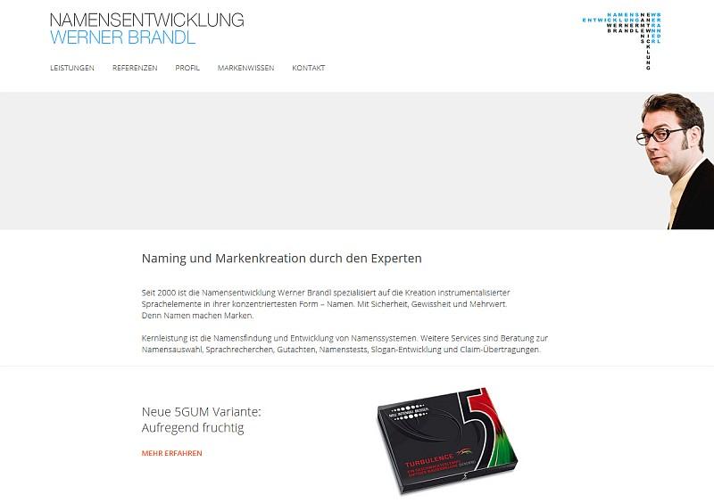 Screenshot der Namensentwicklung Werner Brandl