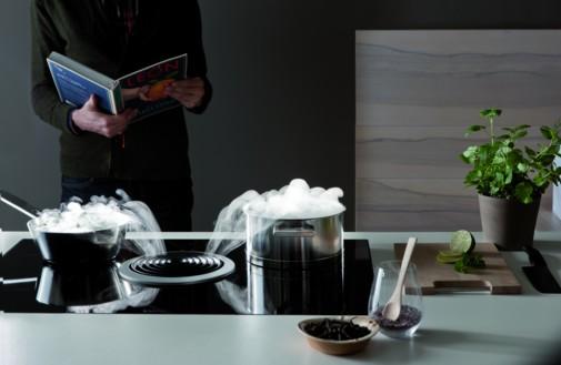 Foto von zwei Kochtöpfen auf einem Kochfeld Bora Basic