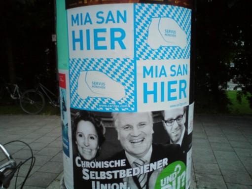 """Slogan """"mia san hier"""" von car2go in München"""