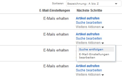 "Screenshot Ebay Funktion ""entfolgen"""