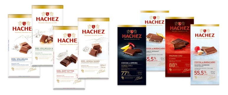Chocolade Hachez Sortiment Auswahl: 8 Tafeln
