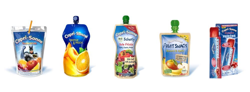Capri Sonne Range mit fünf Produkten