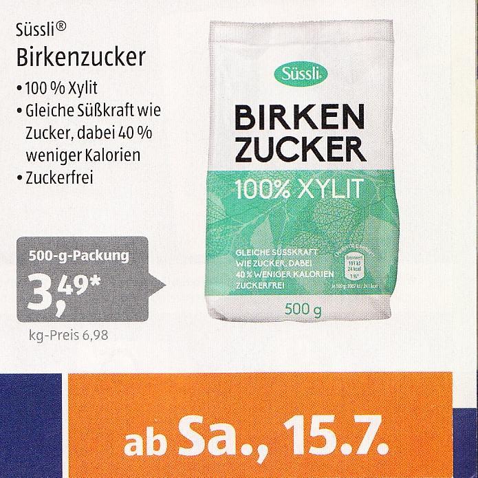 Xylit verkauft als Birkenzucker bei Aldi
